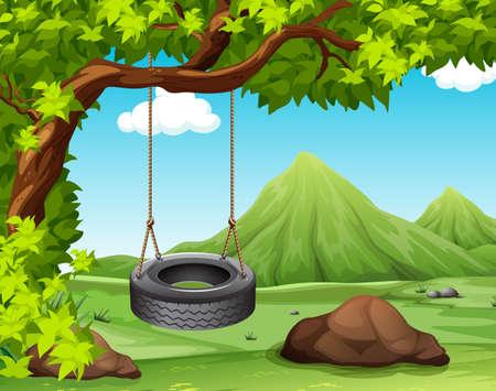 Illustration pour Scene with swing on the tree illustration - image libre de droit