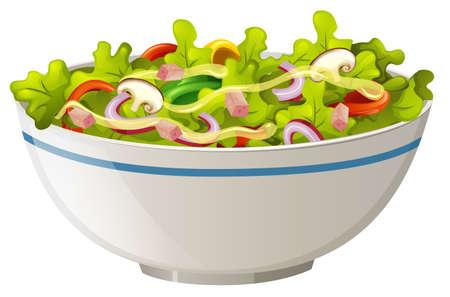Ilustración de Bowl of green salad illustration - Imagen libre de derechos
