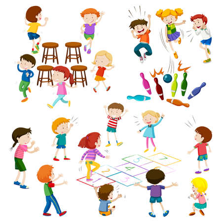 Children play different kind of games illustration
