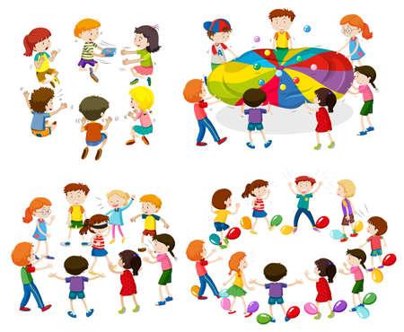 Children playing different games illustration
