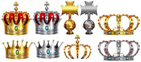 Illustration pour Different design of gold and silver crown illustration - image libre de droit