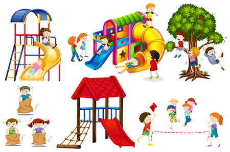 Illustration pour Kids playing games and playing slides illustration - image libre de droit