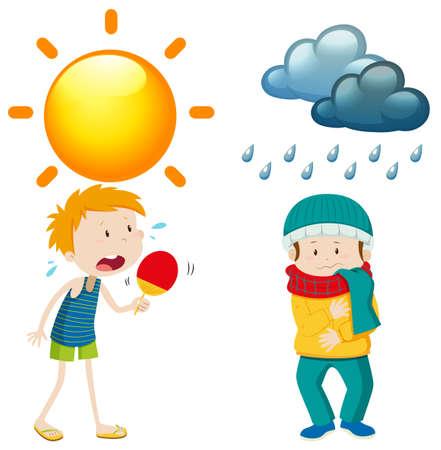 Illustration pour People in summer and winter illustration - image libre de droit