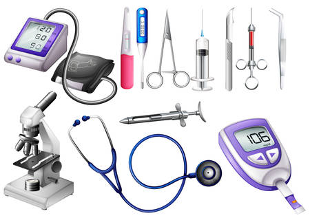 Illustration pour Set of medical equipment illustration - image libre de droit