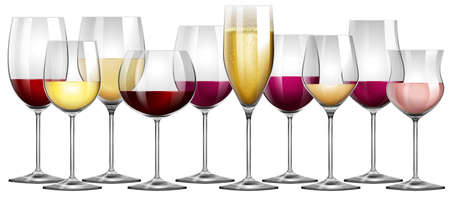 Illustration pour Wine glasses filled with red and white wine illustration - image libre de droit