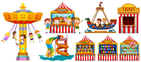 Illustration pour Children playing in the park and many games illustration - image libre de droit