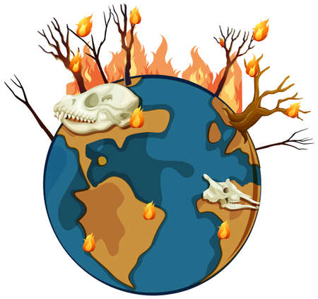 Wildfire on planet earth illustration