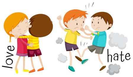 Illustration pour Kids showing love and hate illustration - image libre de droit