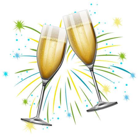 Foto de Two glasses of champagne with firework background illustration - Imagen libre de derechos