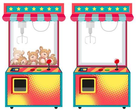 Illustration pour Arcade game machines with dolls illustration - image libre de droit