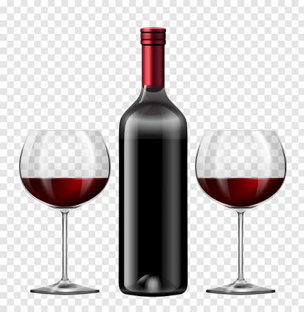 Illustration pour Two glasses of red wine and bottle of wine illustration - image libre de droit