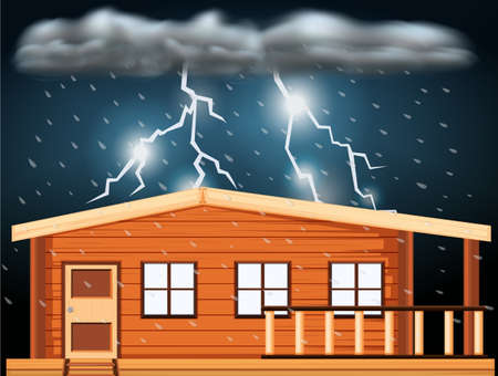 Scene with thunderstorms over the house illustration