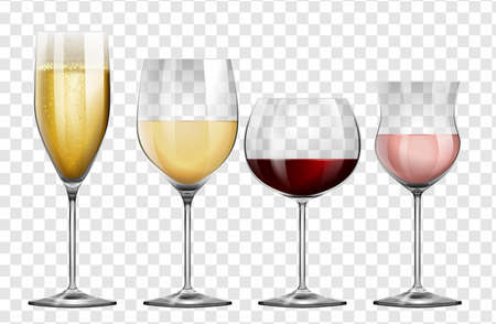 Four different kinds of wine glasses illustration
