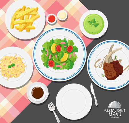 Different types of food on dining table illustration
