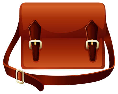 Illustration pour Brown bag made of leather illustration - image libre de droit