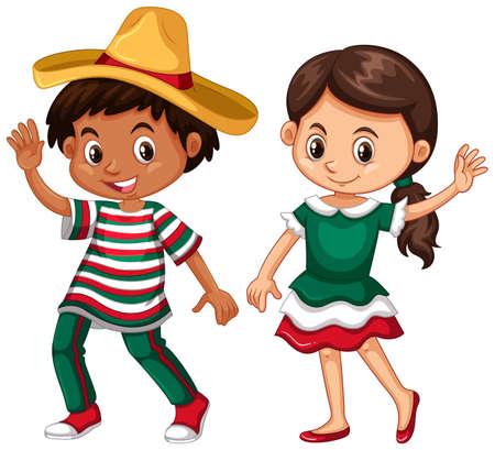 Vektor für Mexican boy and girl waving illustration - Lizenzfreies Bild