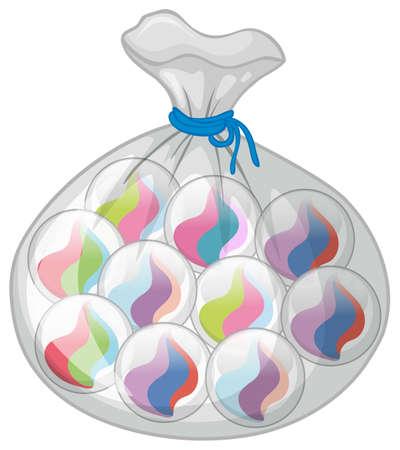 Bag of colorful marbles illustration