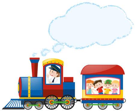 Children riding on train illustration