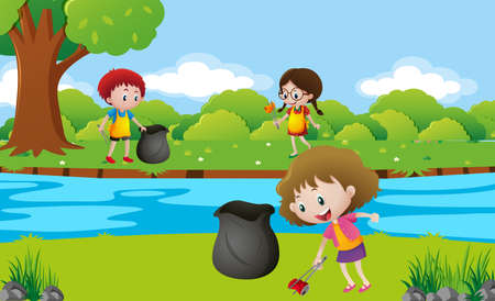 Kids cleaning up the park illustration