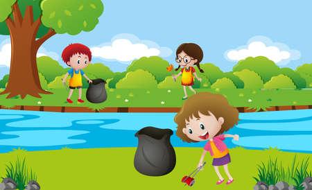 Illustration pour Kids cleaning up the park illustration - image libre de droit