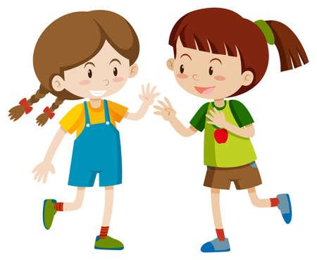 Illustration pour Two happy girls playing illustration - image libre de droit