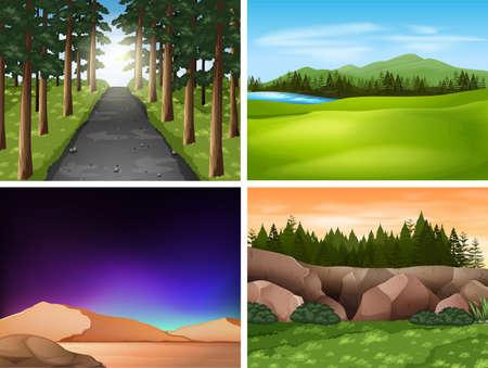 Illustration pour Four nature scenes with mountains and field illustration - image libre de droit