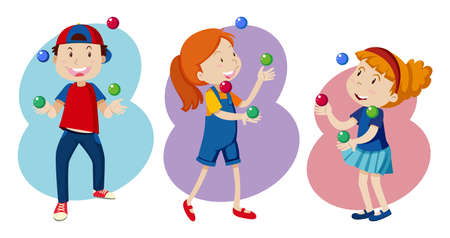 Ilustración de Kid are Playing colourful Juggling illustration - Imagen libre de derechos