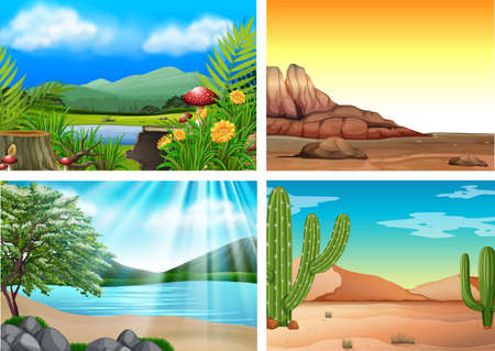 Illustration pour Four Different Landscape and Nature illustration - image libre de droit