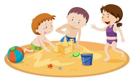 Illustration pour Kids Building Sand Castle on White Background illustration - image libre de droit