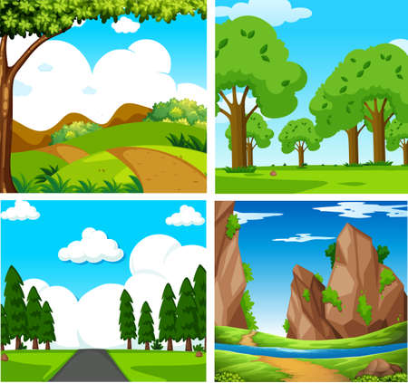 Illustration pour Four Beautiful Green Natural Landscape illustration - image libre de droit