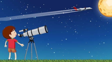 A Kid Looking at the Moon with Telescope illustration