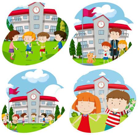 Illustration pour Students Activity at the School illustration - image libre de droit