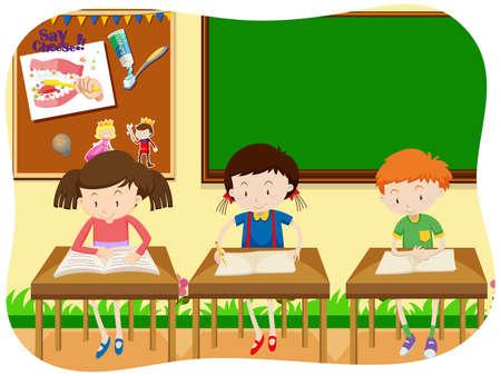 Ilustración de Three Students Learning in Classroom illustration - Imagen libre de derechos