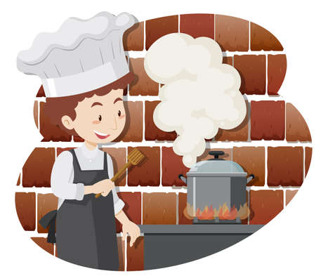 Illustration for A Professional Chef Cooking Food illustration - Royalty Free Image