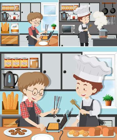 Illustration pour A Man in Cooking Class illustration - image libre de droit