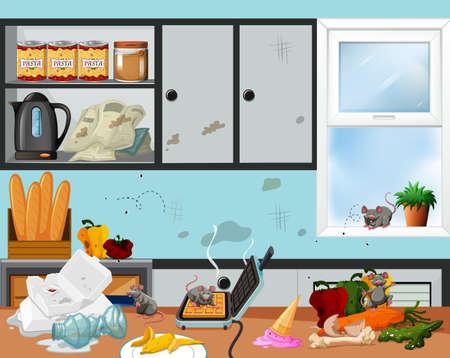 Illustration pour A Messy and Unsanitary Kitchen illustration - image libre de droit
