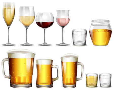 Illustration pour Different Type of Alcoholic Drinks  illustration - image libre de droit