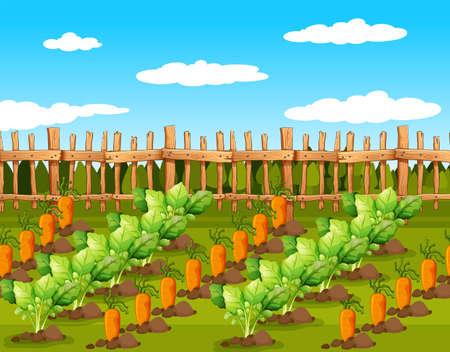 Ilustración de Field of food crops. Vector illustration - Imagen libre de derechos