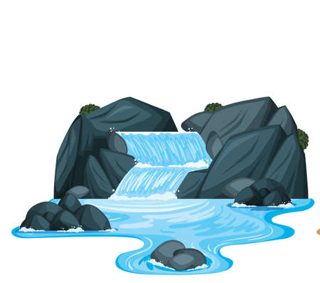 Illustration pour A small waterfall with rocks illustration - image libre de droit