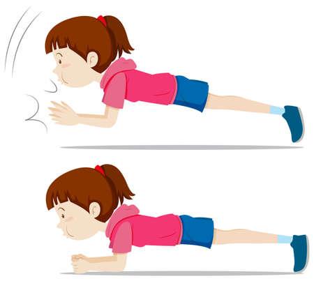 Illustration pour A girl plank exercise illustration - image libre de droit