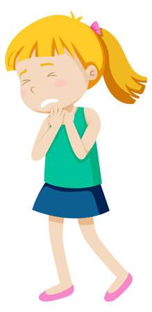 Illustration pour A girl wtih sore throat illustration - image libre de droit