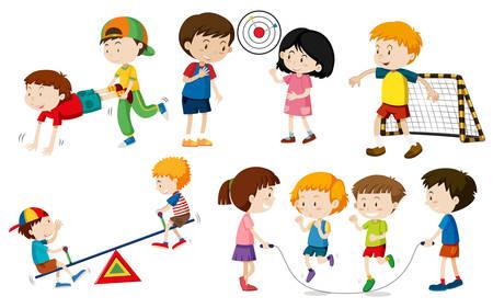 Photo for Set of children doing activites illustration - Royalty Free Image