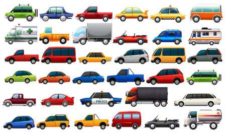 Ilustración de A set of road vehicles  illustration - Imagen libre de derechos