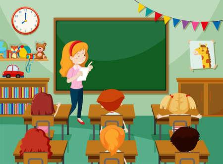 Ilustración de Teacher and students in classroon illustration - Imagen libre de derechos