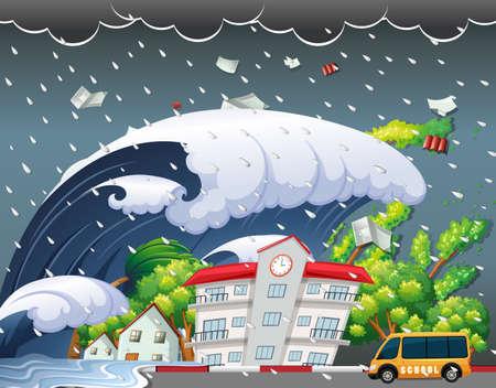 Ilustración de Tsunami hit school building illustration - Imagen libre de derechos