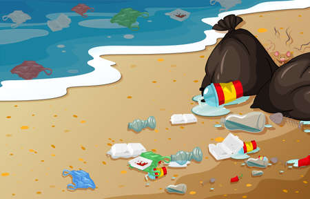 Illustration for A pollution beach background illustration - Royalty Free Image