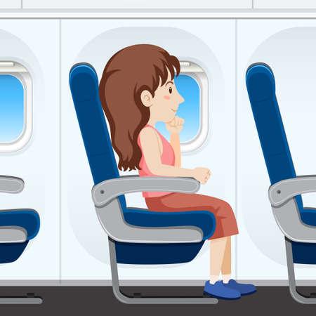 Ilustración de Girl on airplane seat illustration - Imagen libre de derechos
