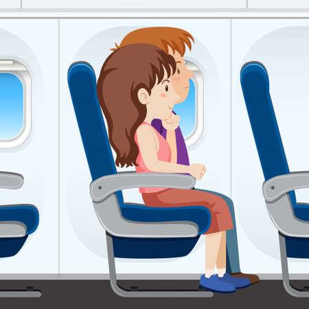 Illustration pour Passenger on the plane seat illustration - image libre de droit