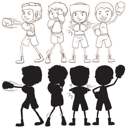 Set of boxer character illustration