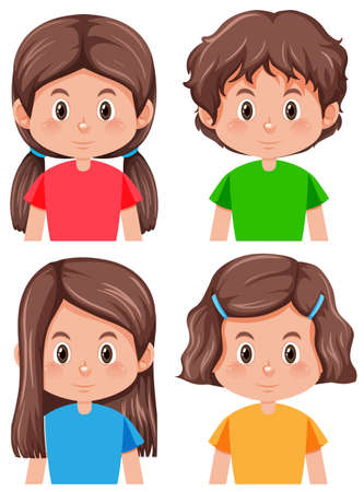 Illustration for Set of brunette female character illustration - Royalty Free Image